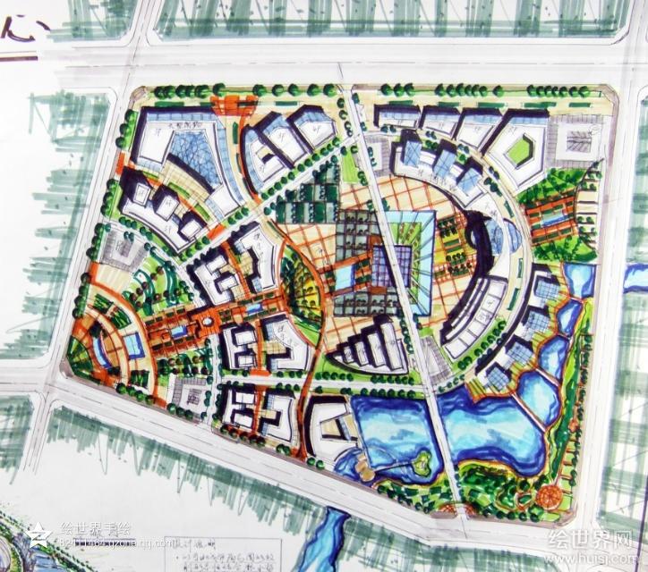 《城市规划》中心区,高分快题设计-城市规划快题-银火