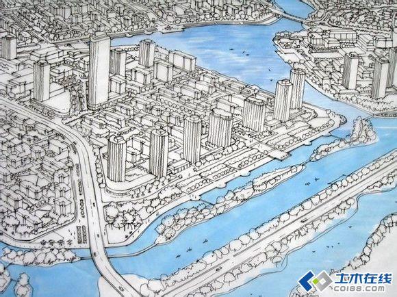 个人收藏城市规划手绘稿,大家共同鉴赏,学习,进步!