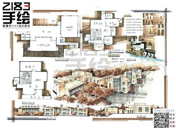 南京2183手绘建筑高分快题三