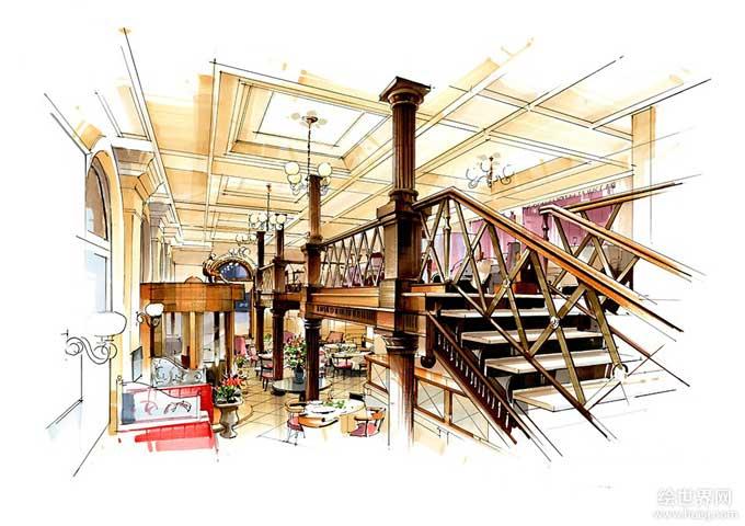 大型餐厅快题设计手绘图
