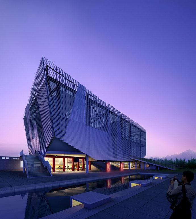 柱子传递现代建筑的肌理