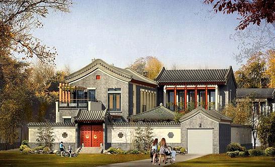 茹古涵今中西合璧的观唐中式宅院别墅