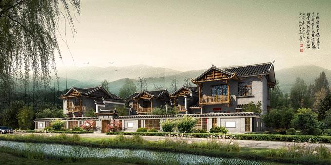 川西民宿四合院建筑方案设计